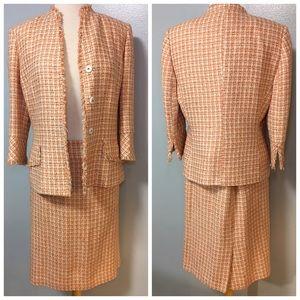 Vintage Anne Klein Womens 2 Suits Skirt Coral